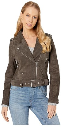 Blank NYC Cropped Suede Moto Jacket (Shadow Grey) Women's Clothing