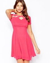 Elise Ryan Skater Tea Dress With Mesh Inserts