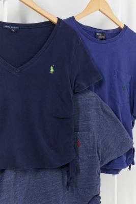 Urban Renewal Vintage Remade From Vintage Navy Ruched Brand T-Shirt - Blue M/L at Urban Outfitters