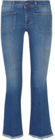 Stella McCartney Cropped Frayed Low-rise Flared Jeans - Mid denim