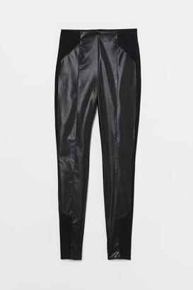 H&M Faux Leather Leggings - Black
