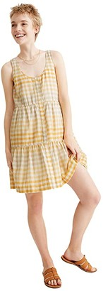 Madewell Button-Front Tiered Mini Dress (Gingham Ombre Pollen) Women's Clothing