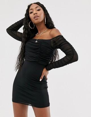 Public Desire bardot mini dress with ruching