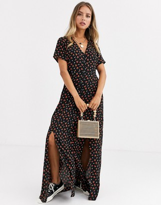 Daisy Street button through maxi dress with splits in ditsy floral-Black
