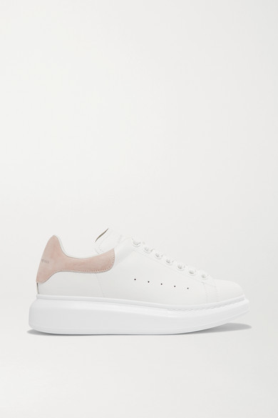 Suede trimmed Leather Exaggerated sole Sneakers White