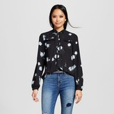 Mossimo Women's Victorian Ruffle Blouse with Tie Neck Black Floral Print