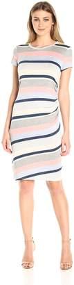 Notations Women's Short Sleeve Stripe Midi Dress