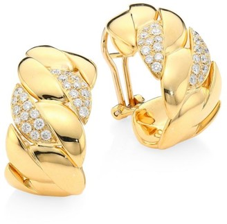 Brera Via 18K Yellow Gold & Diamond Curb Earrings