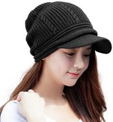 Siggi Womens Wool Knit Black Visor Beanie Jeep Cap Winter Newsboy Hat for Lady Fleece Lined