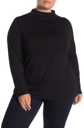 GRACE ELEMENTS Long Sleeve Funnel Neck Knit Shirt (Plus Size)
