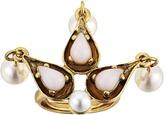 Oscar de la Renta Cabochon Pearl Stone and Pearl Ring