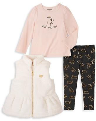Juicy Couture Little Girl's 3-Piece Faux Fur Vest, Top & Leggings Set