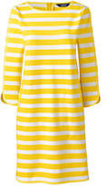 Lands' End Women's Petite 3/4 Sleeve Ponte Shift Dress-Yellow Dandelion Stripe