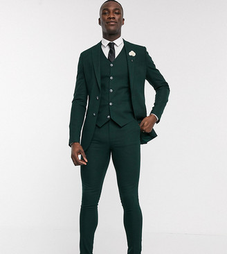 ASOS DESIGN Tall wedding super skinny suit jacket in forest green micro texture