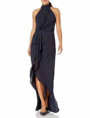 Halston Women's Sleeveless Mock Neck Gown with Drape Front Detail