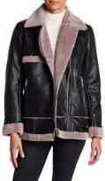 BCBGeneration Long Asymmetrical Faux Fur Lined Jacket
