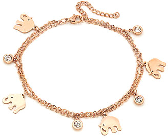 Swarovski Steel Time Women's Anklets rose - 18k Rose Gold-Plated Moon Charm Anklet With Crystal