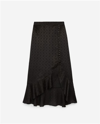 The Kooples Black long skirt with slit and frills