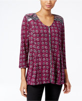 Style&Co. Style & Co. Petite Printed Peasant Blouse, Only at Macy's