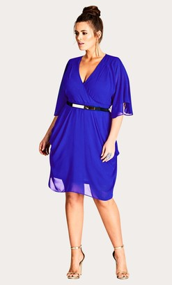 City Chic Blue Draped Faux Wrap Dress Size 14/X-Small Polyester