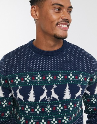 Topman Christmas jumper with reindeer pattern in navy
