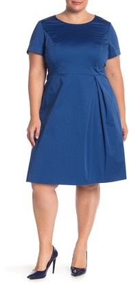 Lafayette 148 New York Deja Pleat Front Dress (Plus Size)
