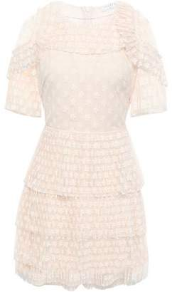 Sandro Tiered Embroidered Tulle Mini Dress