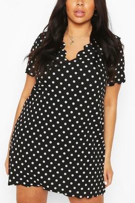 boohoo Plus Polka Dot Scallop V-neck Shift Dress