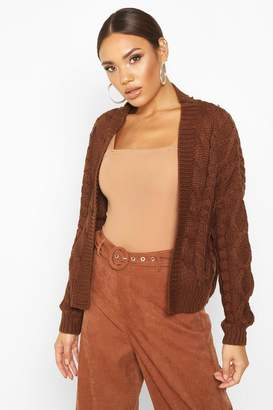 boohoo Cable Knit Edge To Edge Cardigan