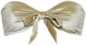 Love Stories Bow-detailed Chenille Bandeau Bikini Top