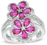 Zales Pear-Shaped Lab-Created Ruby and White Sapphire Double Flower Ring in Sterling Silver