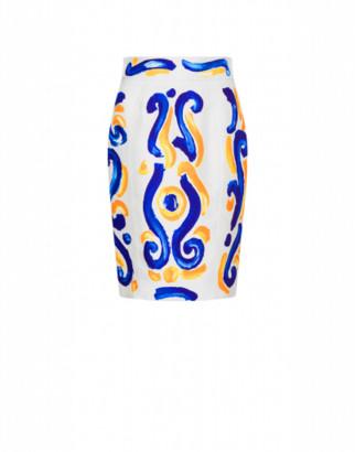 Moschino Majolica Cady Miniskirt Woman White Size 40 It - (6 Us)