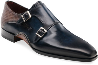 Magnanni Men's Altamira Double-Monk Leather Loafers