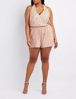 Charlotte Russe Plus Size Micro Pleated Plunging Romper