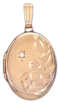 US Jewels And Gems 14k Yellow Gold 2 Photo Oval & Diamond Locket