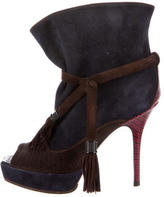 Louis Vuitton Peep-Toe Suede Ankle Boots