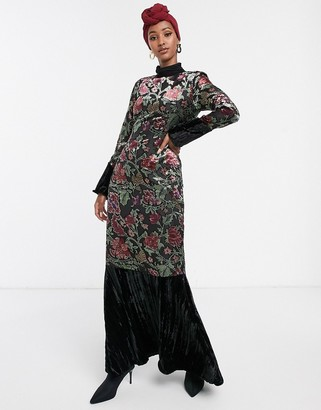 Verona high neck maxi dress with fluted sleeve in velvet burnout