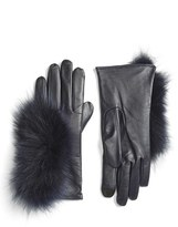 Echo Women's Touchscreen Compatible Gloves With Genuine Fox Fur Trim