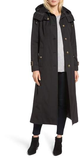 London Fog Hooded Single Breasted Long Trench Coat