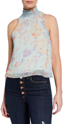 Alice + Olivia Annmarie Floral-Print Smocked Turtleneck Tank Top