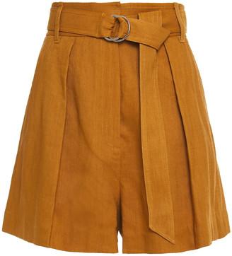 Tibi Belted Lien-blend Twill Shorts