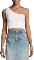 Helmut Lang One-Shoulder Cropped Stretch-Knit Bra Top, Optic White