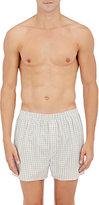 Sunspel Men's Plaid Cotton Boxers-BLUE