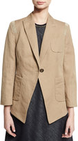 Brunello Cucinelli Twill One-Button Jacket w/Monili Trim, Yellow