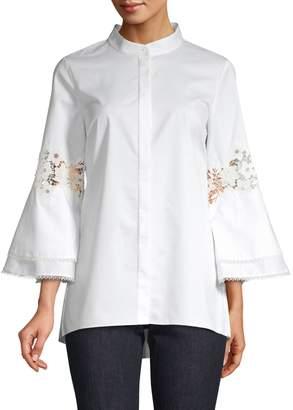 Elie Tahari Kaila Lace Eyelet Kimono Sleeve Button-Down Shirt
