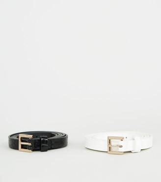 New Look 2 Pack Faux Croc Skinny Belts