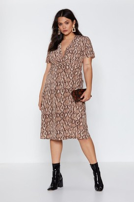 Nasty Gal Womens That Snakes Sense Midi Dress - Taupe