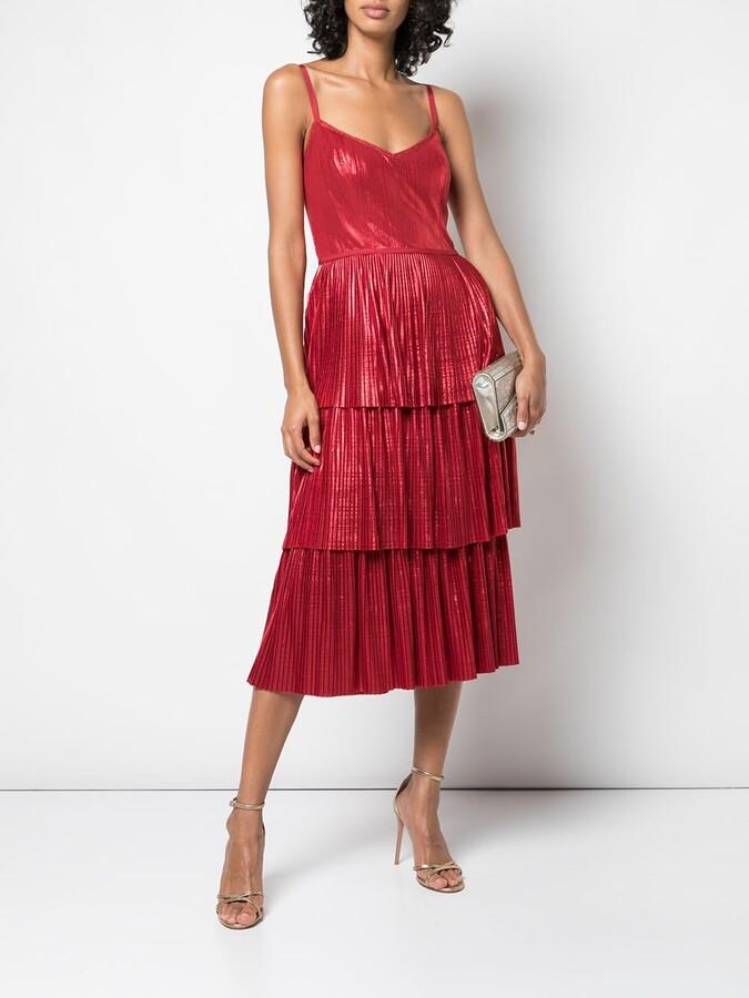 Marchesa Notte Pleated Midi Dress