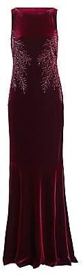 Teri Jon by Rickie Freeman Women's Embellished Cowl-Back Velvet Dress