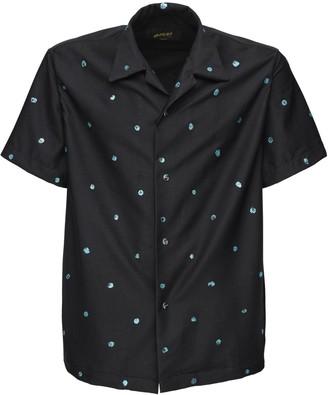Bossi Sportswear Glitter Polka Dot Textured Camp Shirt